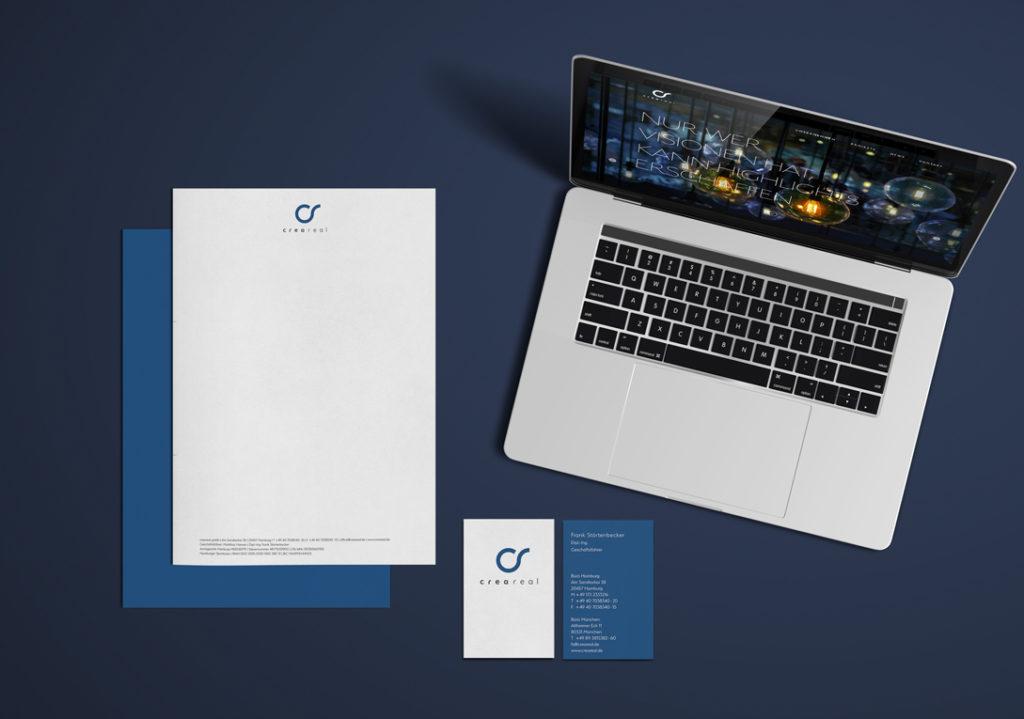 Creareal Geschäftsausstattung web und print Mockup
